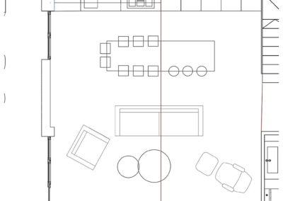 Plano del salón-cocina con mezzanine en dúplex Nala Studio